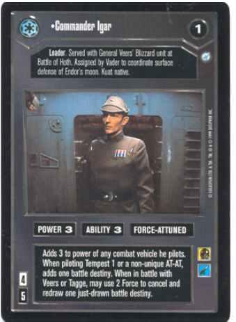 Star Wars CCG Reflections II 2 Foil Commander Igar